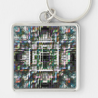 Colorful Mosaic Cubes Silver-Colored Square Key Ring