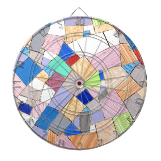Colorful mosaic dartboard with darts