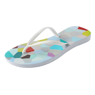 Colorful Mosaic Pattern Flip Flops