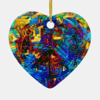Colorful mosaic peace symbol ceramic heart decoration