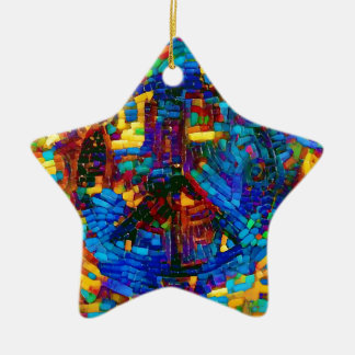 Colorful mosaic peace symbol christmas ornament
