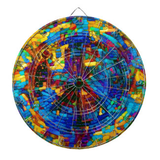 Colorful mosaic peace symbol dartboard