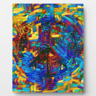 Colorful mosaic peace symbol display plaques