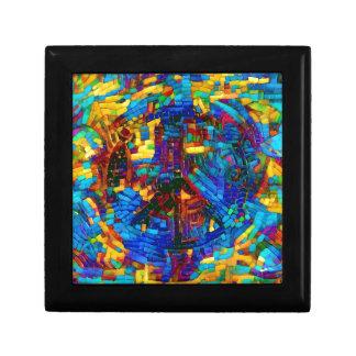 Colorful mosaic peace symbol gift box