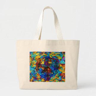 Colorful mosaic peace symbol large tote bag