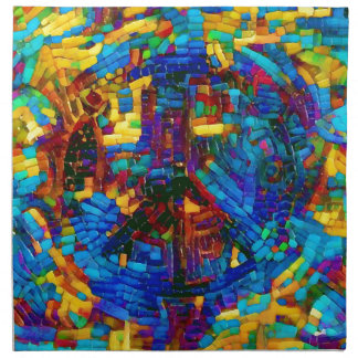 Colorful mosaic peace symbol napkin