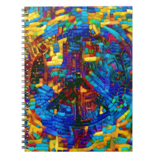 Colorful mosaic peace symbol notebooks