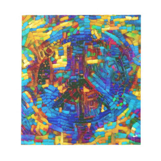 Colorful mosaic peace symbol notepad