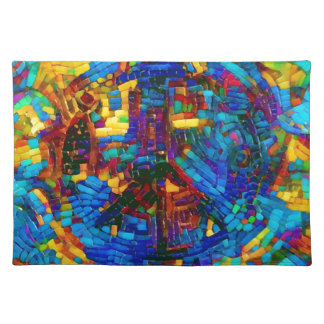 Colorful mosaic peace symbol placemat