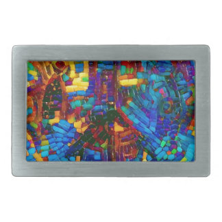 Colorful mosaic peace symbol rectangular belt buckles