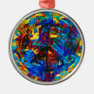 Colorful mosaic peace symbol Silver-Colored round decoration