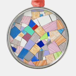 Colorful mosaic Silver-Colored round decoration