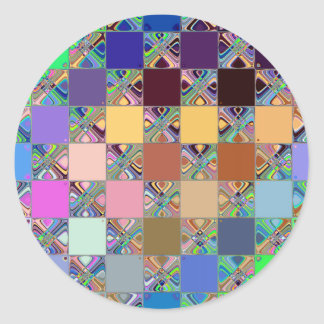 Colorful Mosaic Tiles Round Sticker