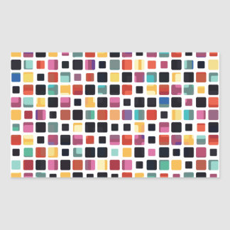 Colorful Mosaic Tiling Rectangular Sticker