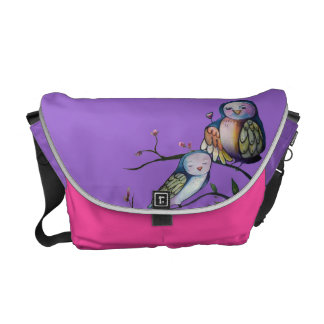 Colorful Mother and baby owl Commuter Bag