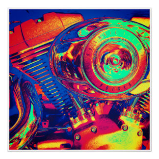 Colorful Motorcycle Engine Poster