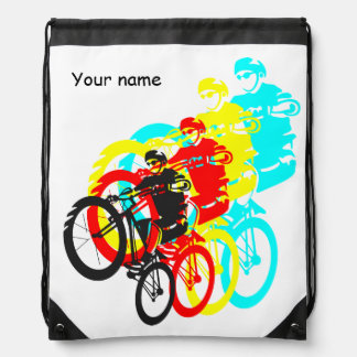 Colorful Mountain bike trials Drawstring Bags