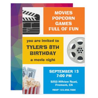 Colorful Movie Night Kids Birthday Party Invite