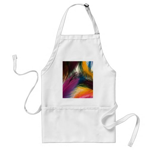 Colorful multi colored Feathers Apron