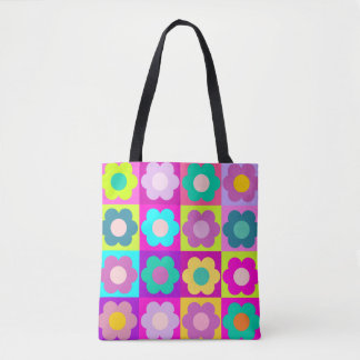 Colorful multicolor floral tote bag