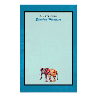 Colorful Multicolored Elephant on Blue Background Custom Stationery