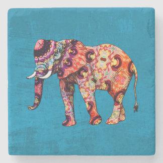 Colorful Multicolored Elephant on Blue Background Stone Coaster