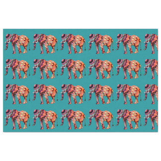 Colorful Multicolored Elephant on Teal Background Tissue Paper
