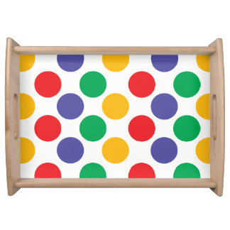 Colorful Multicolored Polka Dots Pattern Serving Tray