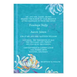 Colorful Mum Teal Floral Formal Wedding Card