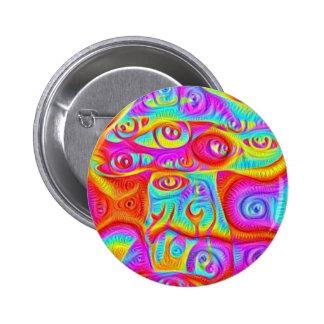 colorful mushroom 6 cm round badge