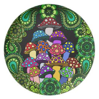Colorful Mushrooms Decorative Plate