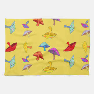 colorful mushrooms kitchen towel