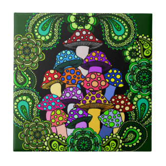 Colorful Mushrooms Tile