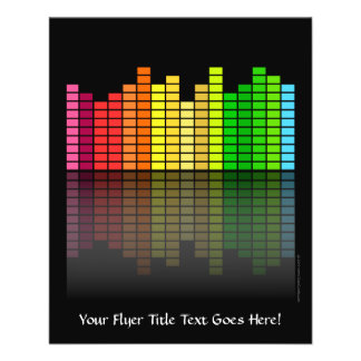 Colorful Music Equalizer w/Reflection, Cool Techno 11.5 Cm X 14 Cm Flyer