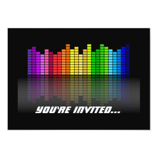 Colorful Music Equalizer w/Reflection, Cool Techno 13 Cm X 18 Cm Invitation Card