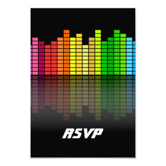 Colorful Music Equalizer w/Reflection, Cool Techno 9 Cm X 13 Cm Invitation Card