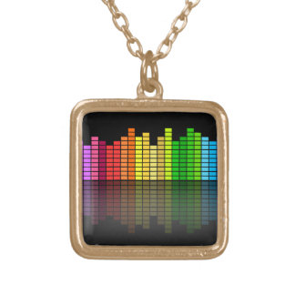 Colorful Music Equalizer w/Reflection, Cool Techno Gold Plated Necklace