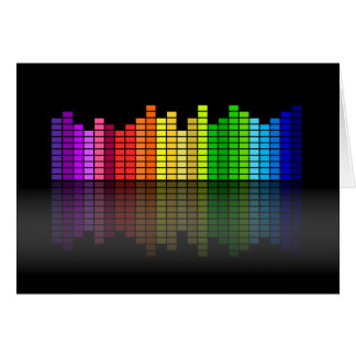 Colorful Music Equalizer w/Reflection, Cool Techno Greeting Card