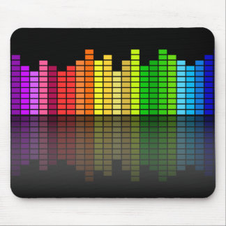 Colorful Music Equalizer w/Reflection, Cool Techno Mouse Mat