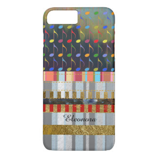 colorful music notes and stripes pattern new iPhone 8 plus/7 plus case