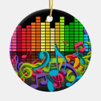 colorful music notes equalizer round ceramic decoration