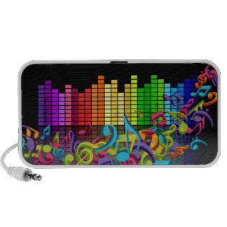 colorful music notes equalizer travel speakers