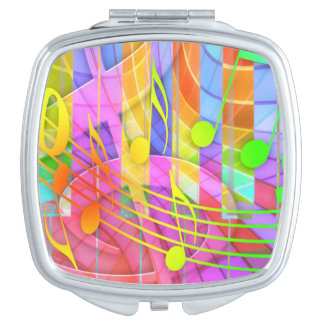 Colorful music notes illustration compact mirrors