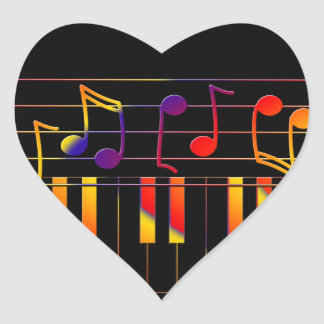 Colorful music notes illustration heart sticker