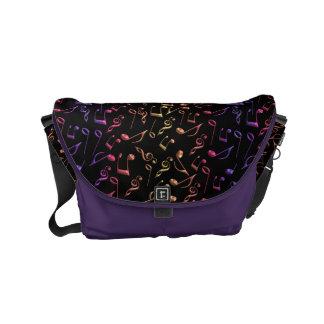 Colorful Music Notes On Black Purple Messenger Bag
