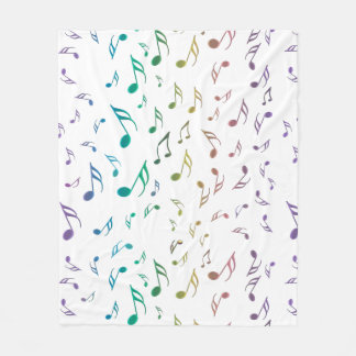 Colorful Music Notes On White or Any Color Blanket