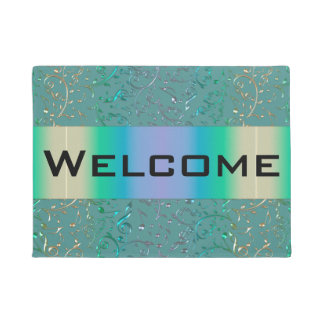 Colorful Music Notes Sage Green Rainbow Doormat