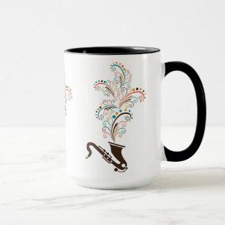 Colorful Music Saxophone & Floral Swirls Mug