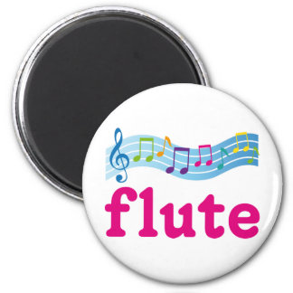 Colorful Music Staff Flute Design Gift 6 Cm Round Magnet