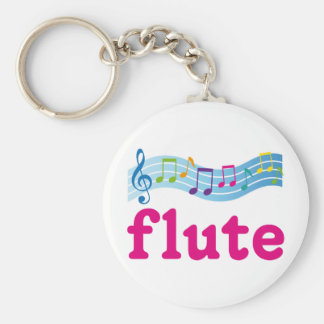 Colorful Music Staff Flute Design Gift Basic Round Button Key Ring